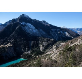 mt. Toc, the big landslide and the Vajont lake, from the coal trail