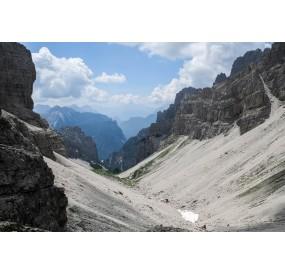The sight from Forcella del Leone towards Monfalconi di Cimoliana Valley